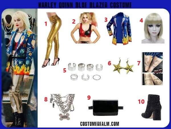 Birds Of Prey Harley Quinn Blue Blazer Costume