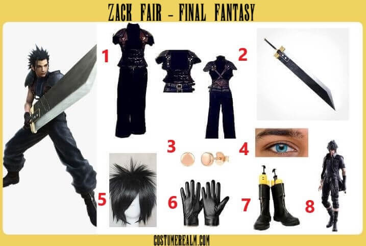Final Fantasy Zack Fair Costume